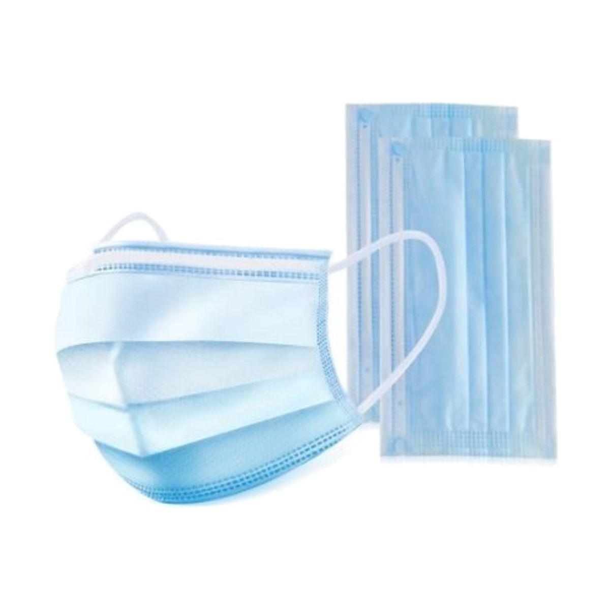 Máscara cirúrgica descartável certificada, para criança, com 3 camadas, azul (pack 50)