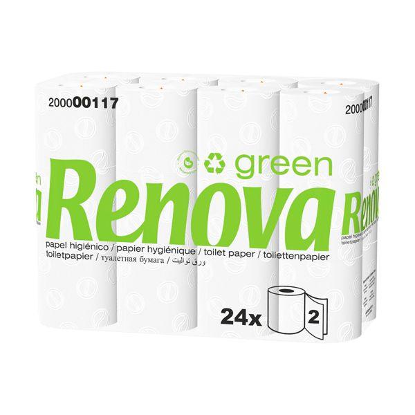 Papel higiénico doméstico 16,5mt 2 folhas Renova Green 24 rolos (pack 2)