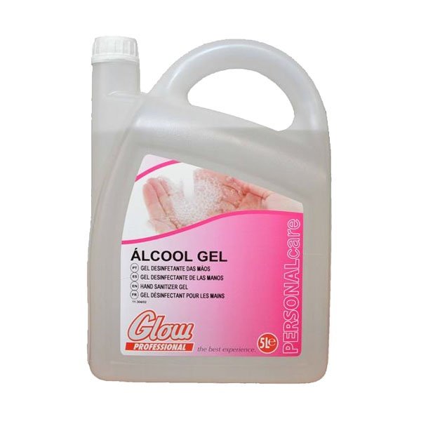 Álcool gel higienizante, desinfetante, anti-séptico para as mãos Glow 5lt
