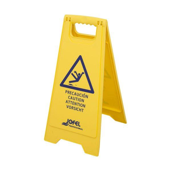 Sinal de aviso para chão molhado em plástico amarelo Jofel 60cm