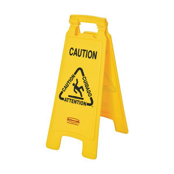Sinal de aviso para chão molhado em plástico amarelo Rubbermaid 64cm