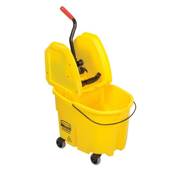 Balde de esfregona amarelo com prensa Rubbermaid Wave Break 33lt