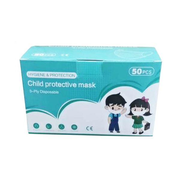 Máscara cirúrgica descartável certificada, para criança, com 3 camadas (pack 50)