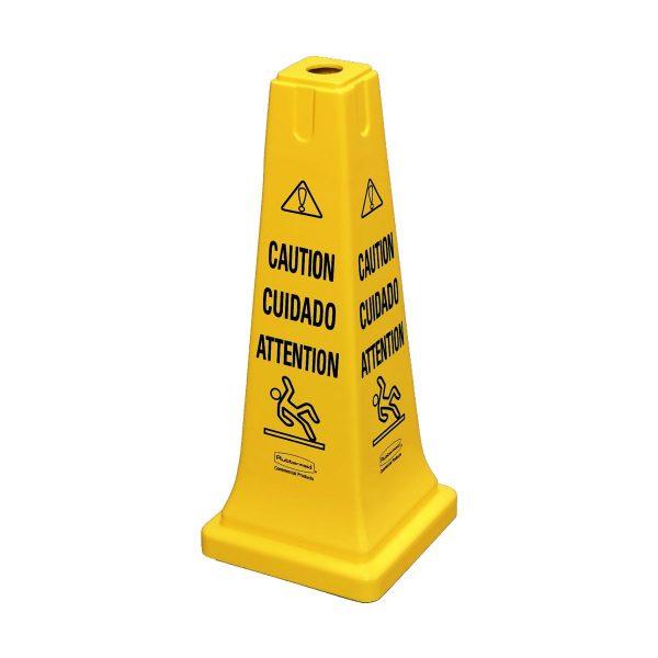 Cone de segurança com texto Cuidado em plástico amarelo Rubbermaid 65cm