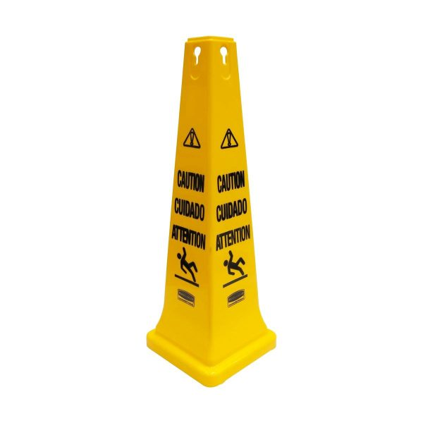 Cone de segurança com texto Cuidado em plástico amarelo Rubbermaid 91cm