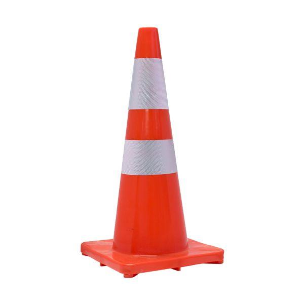Cone de sinalização de trânsito ou perigo em PVC branco e vermelho Perel 50cm