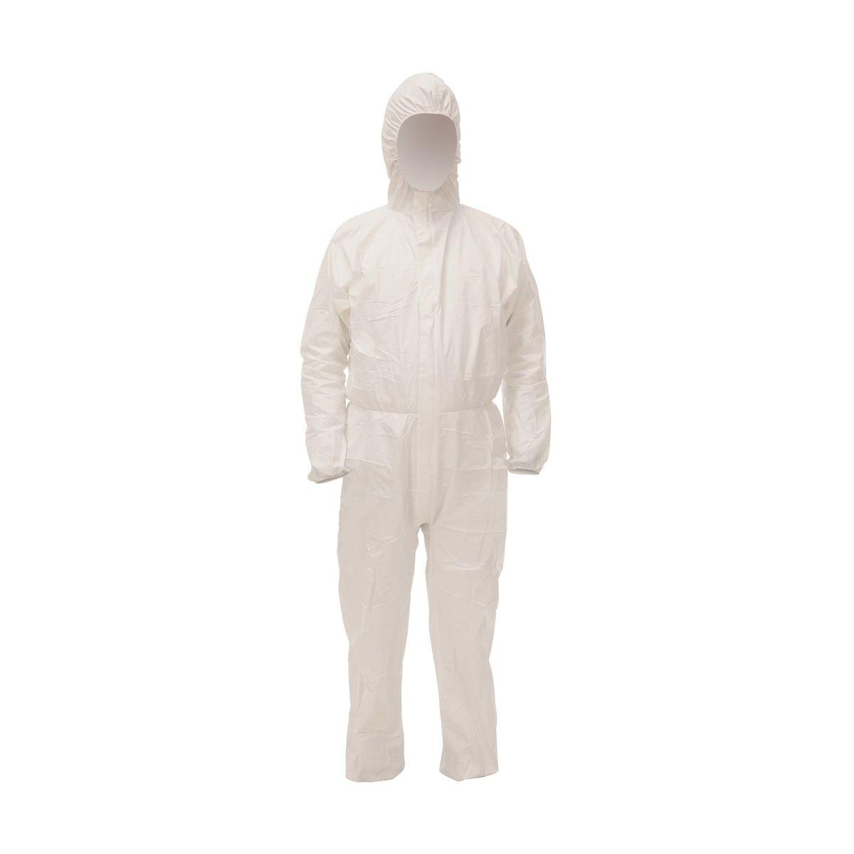 Fato descartável de protecção branco com capuz