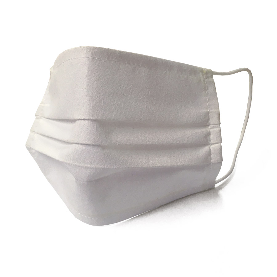 Máscara social reutilizável em tecido branco (Pack 5)