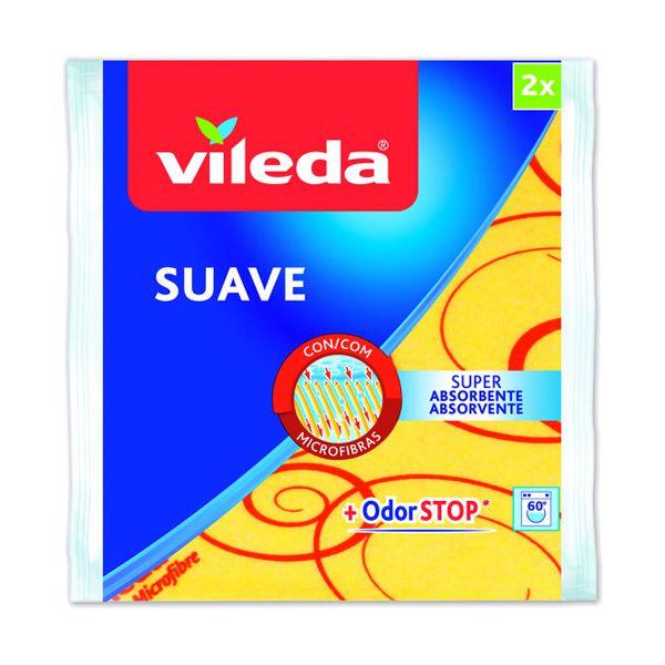 Pano multiúsos suave amarelo com tratamento antibacteriano Vileda (pack 2+1)