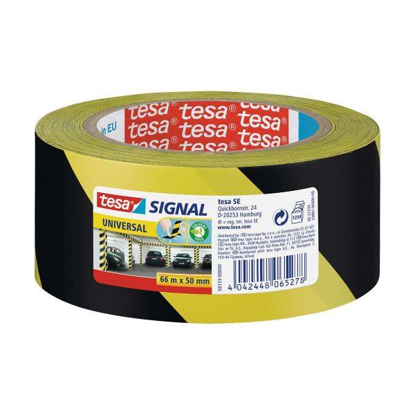 Fita adesiva de sinalização em PP amarelo e preto Tesa 50mmx66mt