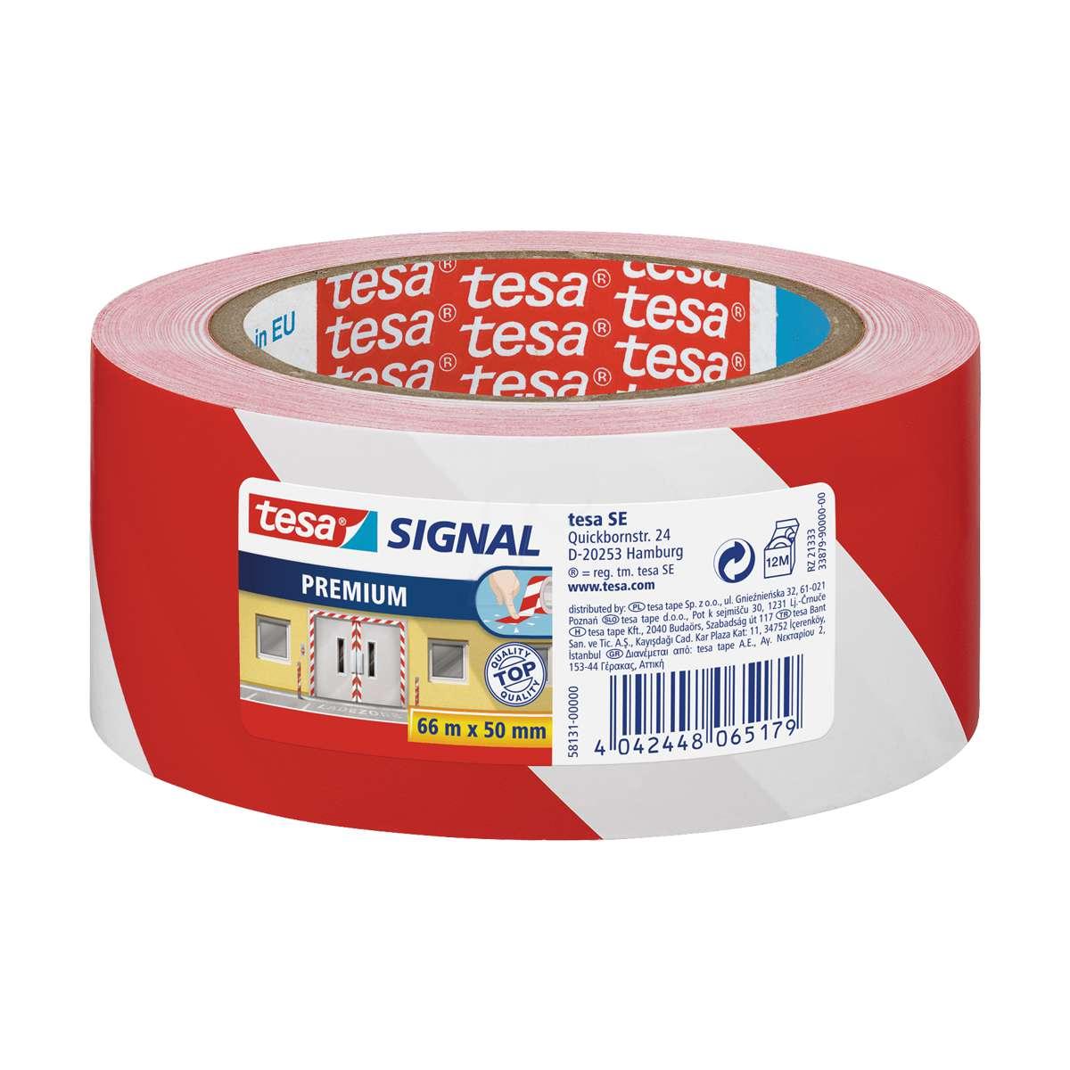 Fita adesiva de sinalização em PP branco e vermelho Tesa 50mmx66mt