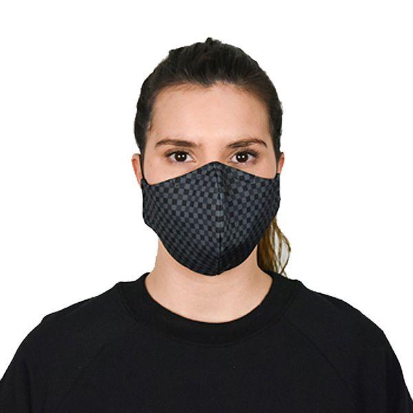 Máscara social reutilizável preta quadrados, com 3 camadas, certificada CITEVE nível 3 (pack 6)