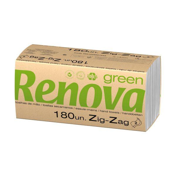 Toalhas de mão zig-zag branca 22x21,5 2 folhas Renova Green (pack 30x180 = 5400)