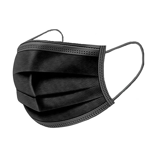 Máscara descartável, com 3 camadas, preta (pack 10)