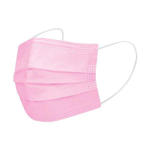 Máscara descartável, com 3 camadas, rosa (pack 10)