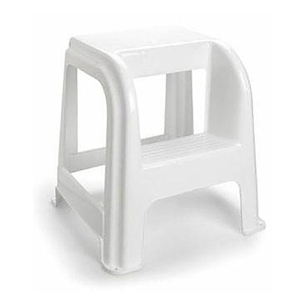 Escadote / Tamborete de plástico cinza com 2 níveis 45cm