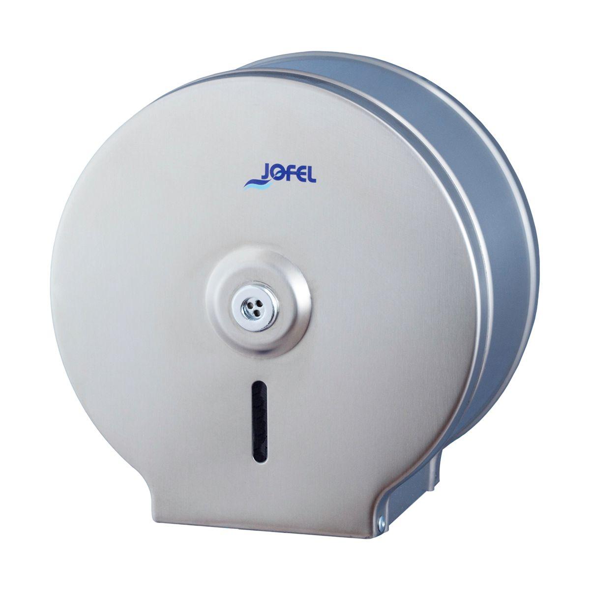 Dispensador de papel higiénico jumbo em aço inox satinado Jofel