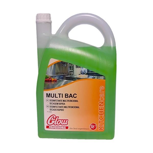Detergente desinfectante multifincional de secagem rápida para áreas alimentares Glow Multi Bac 5lt