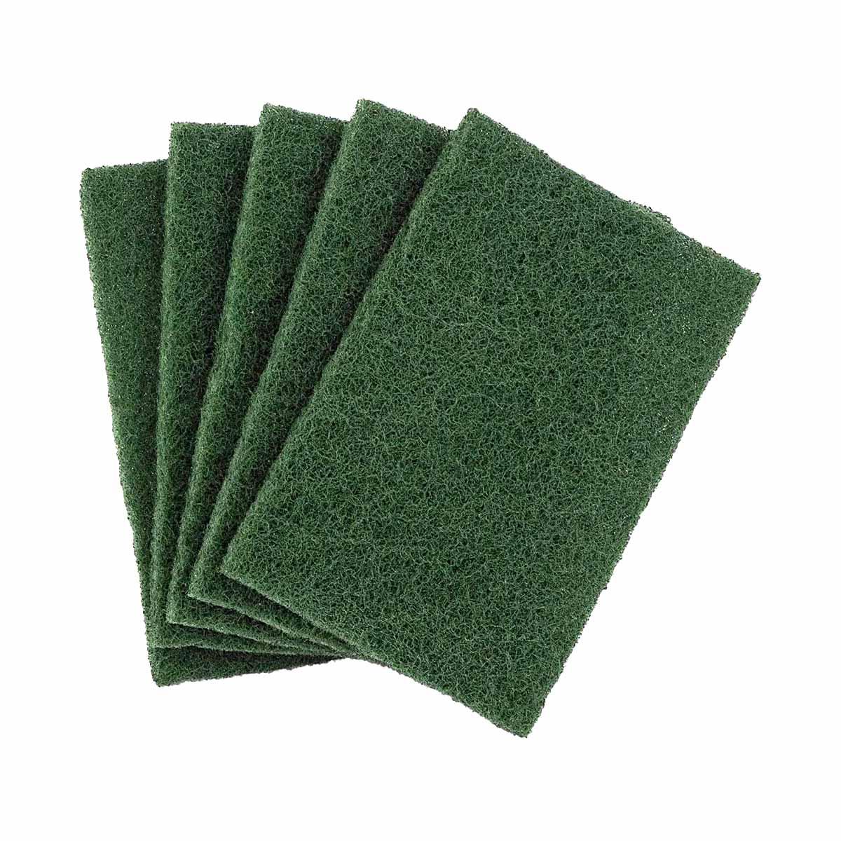 Esfregão de fibra verde para loiça 15x10cm (pack 5)
