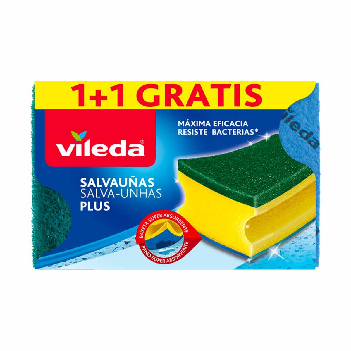 Esponja com esfregão salva unhas amarela e verde Vileda Antibactérias (pack 2)